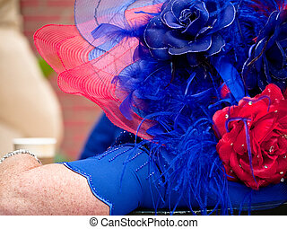 Woman with red and blue hat