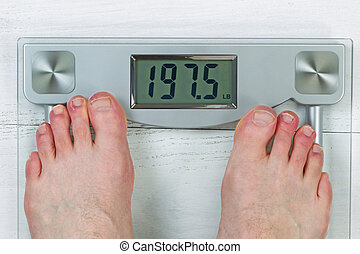 Checking Body Weight on Scale - Weight scale, displaying...