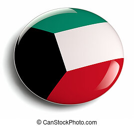Kuwait flag design round badge.