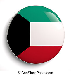 Kuwait flag icon. Clipping path included.