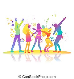 On disco dancing man and woman - Group of young active...