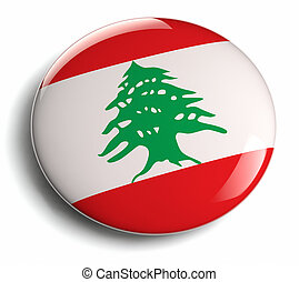 Lebanon flag isolated round badge