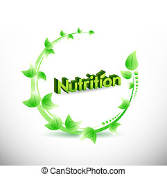 nutrition natural leaves illustration design over a white...