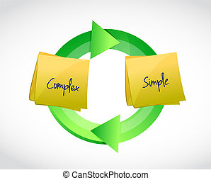 complex and simple cycle illustration design over a white...