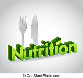 nutrition sign and utensils illustration design over a white...