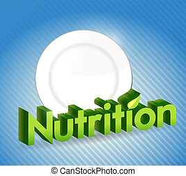 nutrition sign and food plate illustration design over a...