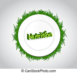 nutrition and food plate illustration design over a white...
