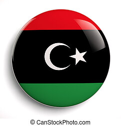 Libya flag icon. Clipping path included.