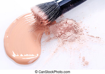 Smeared Liquid Beige Make Up Foundation on White Background...