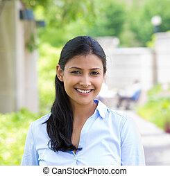Beautiful woman headshot - Closeup headshot portrait, young...