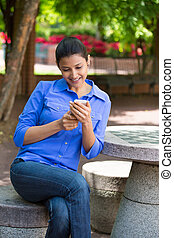Good news text message - Closeup portrait, young happy...