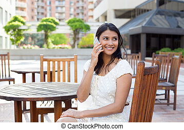 Speaking on phone - Closeup portrait, young, happy beautiful...