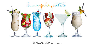 Alcoholis summer cocktails - Collection of widely known...