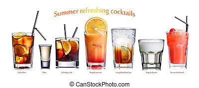 Summer refreshing cocktails - Collection of widely known...