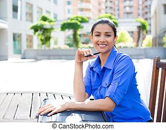 confident woman - Closeup portrait, young business woman...