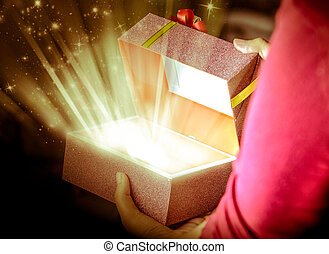 open box gift - girl open a special box gift for special Day...