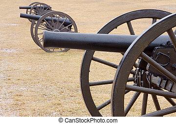 Bull Run Three Canons in Field - Three Civil War canons on a...