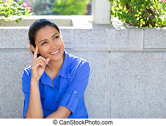 Daydreaming - Closeup portrait, charming upbeat smiling...