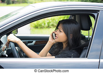 Bad news on phone while driving - Closeup portrait,...