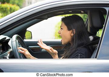 enojado, conductor,