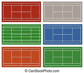 Set of different tennis courts