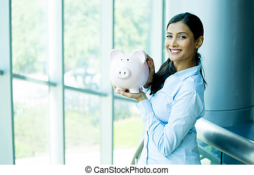 Savings - Closeup portrait happy, smiling business woman,...