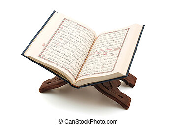 The Holy Quran   - The Holy Quran Openned on wood stand