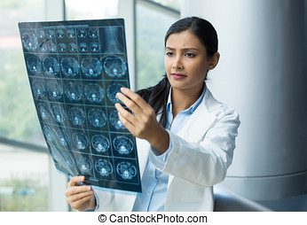 radiologist - Closeup portrait of intellectual woman...