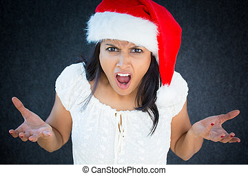 Angry - Closeup portrait, unhappy, young, pretty woman in...