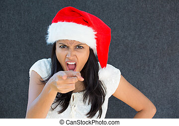mad woman - Closeup portrait, cute Christmas woman with a...