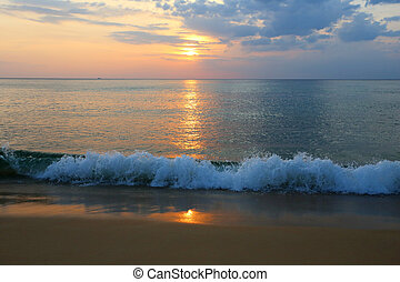 sea sunset karon beach phuket thailand