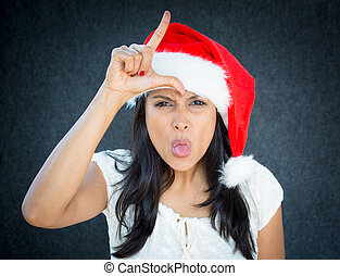 Loser - Closeup portrait of a cute Christmas woman with a...
