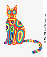 Cat abstract colorfully, art vector illustration