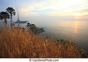 phuket thailand a landscape from the cape promthep sunset