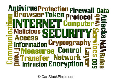 Internet Security word cloud on white background