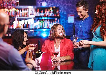 Talking at party