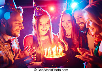 Birthday party - Pretty girl with birthday cake and her...