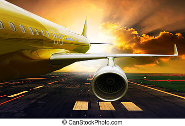 passenger plane take off from runways against beautiful...