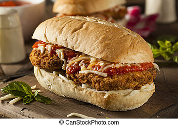 Hearty Homemade Chicken Parmesan Sandwich with Marinara and...