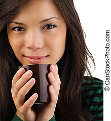 Beautiful woman drinking coffee - Drinking coffee Beautiful...