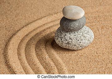 japonés, zen, piedra, jardín,