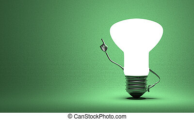Light bulb character in aha moment - Glowing light bulb...