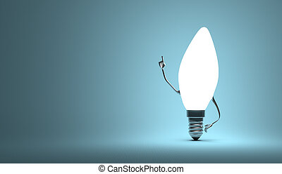 Torpedo light bulb character in aha moment - Glowing torpedo...