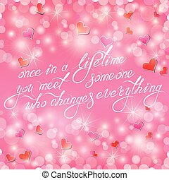 Valentine's day or wedding pink background with hearts and light