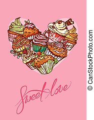 Holiday card with decorated sweet cupcakes in heart shape and ca