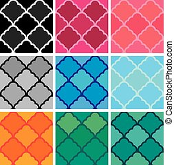 Set of samless patterns. Classical ornaments in different colors