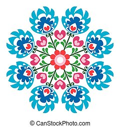 Polish round folk art pattern - Decorative floral vector...