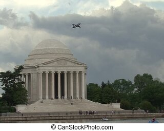 Plane Takes Off Behind Jefferson Memorial - Jefferson...