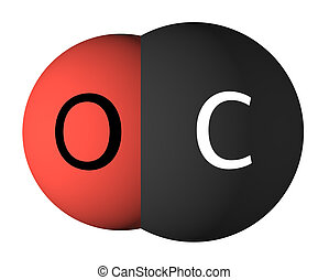 Carbon monoxide molecule isolated on white. Oxygen - red,...