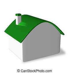 White cottage with green roof - Simple white cottage with...